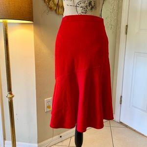 St. John evening Santana knit red flare hem skirt